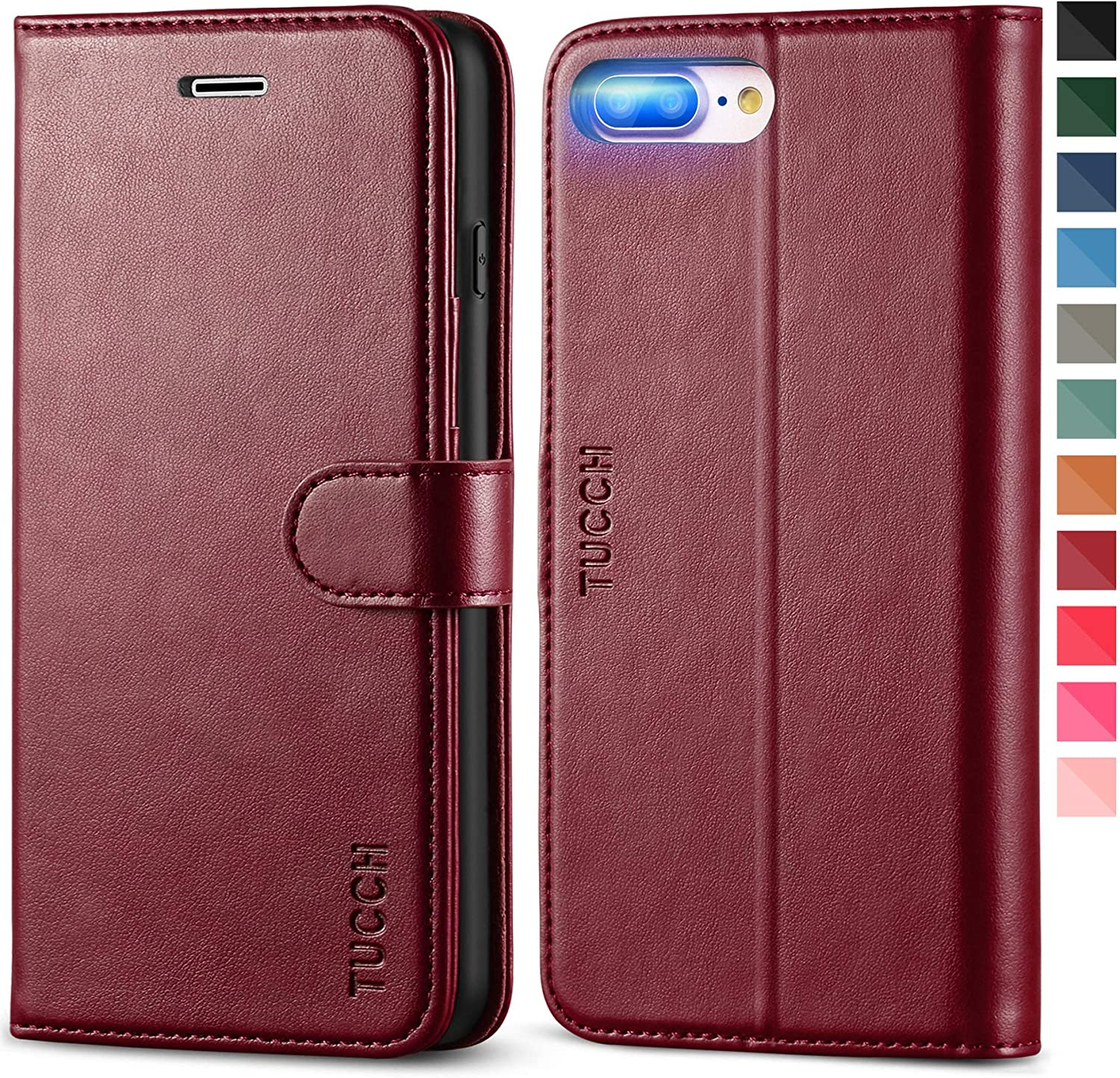 TUCCH iPhone 8 Plus Wallet Case, iPhone 7 Plus Case, Premium PU Leather Flip Folio Case with Card Slot Stand Holder Magnetic Closure [TPU Interior Case] Compatible with iPhone 7 Plus/8 Plus, Wine Red