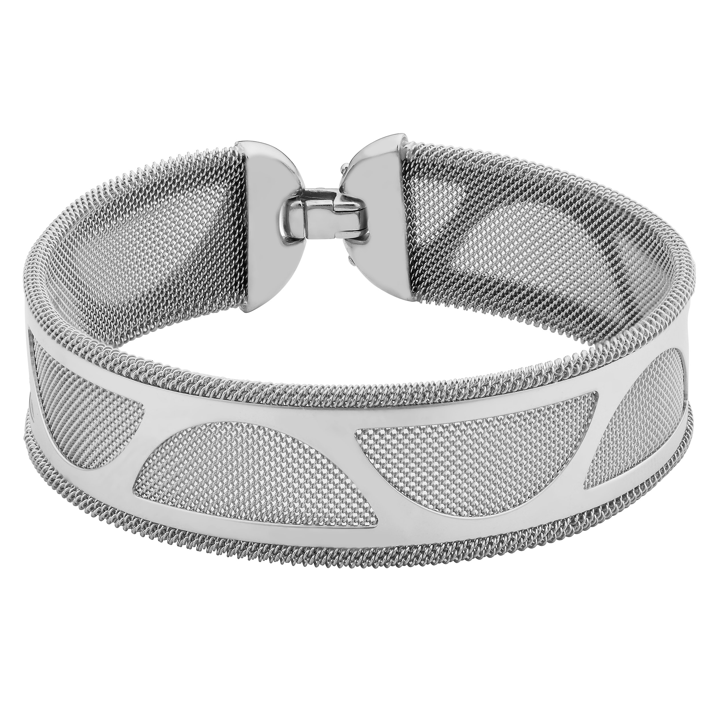 Sterling Silver Half Circle Cut-out Design On Mesh Bracelet (7.5 inches)