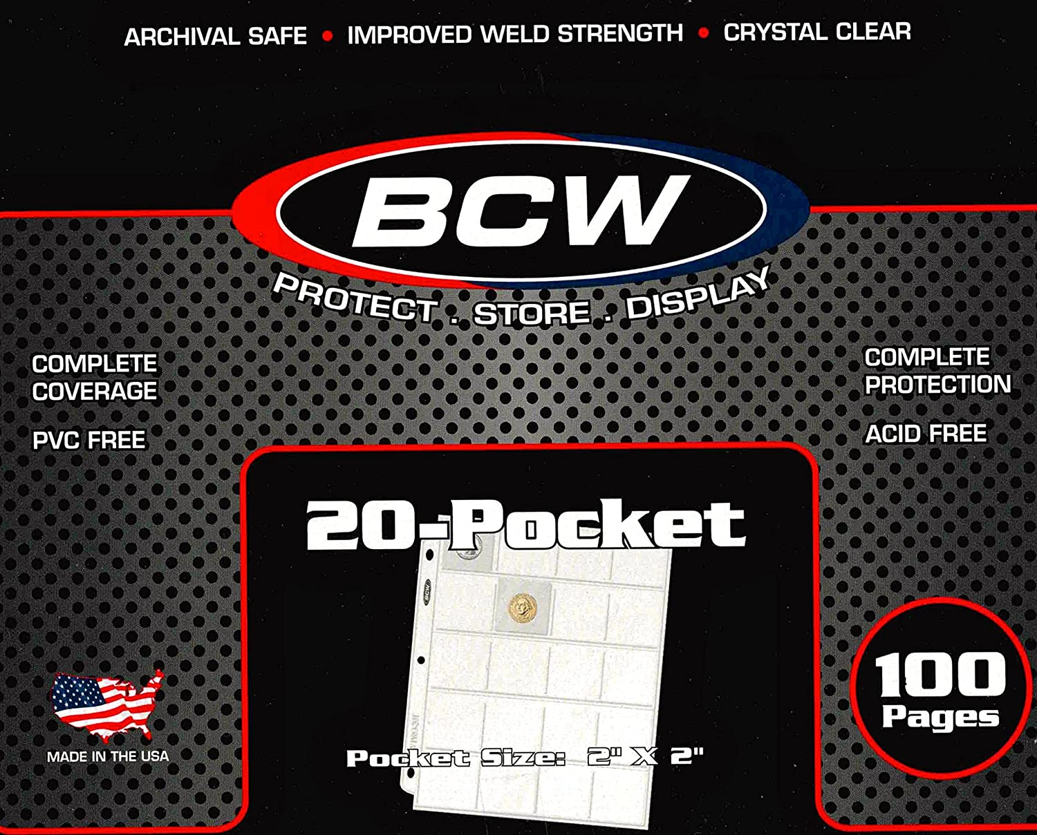 100 BCW Polypropylene 20 Pocket Coin Pages for 2