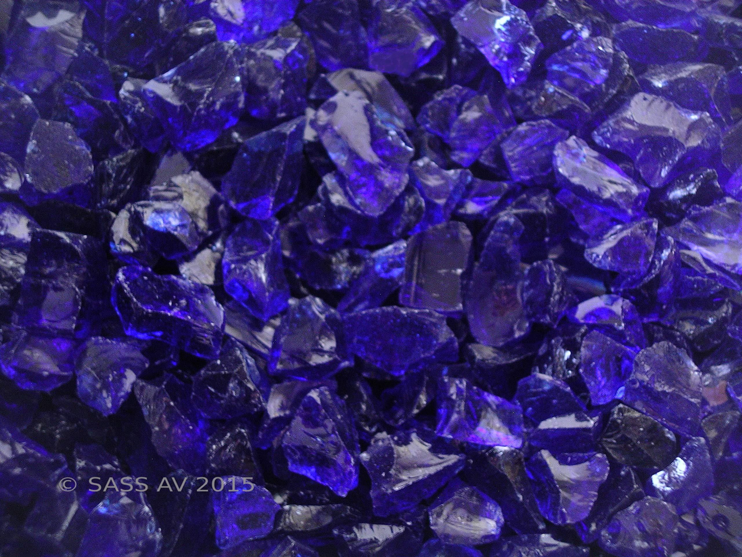 Fire Pit Glass Rocks, COBALT BLUE ~1/4''-1/2'', 25 LBS