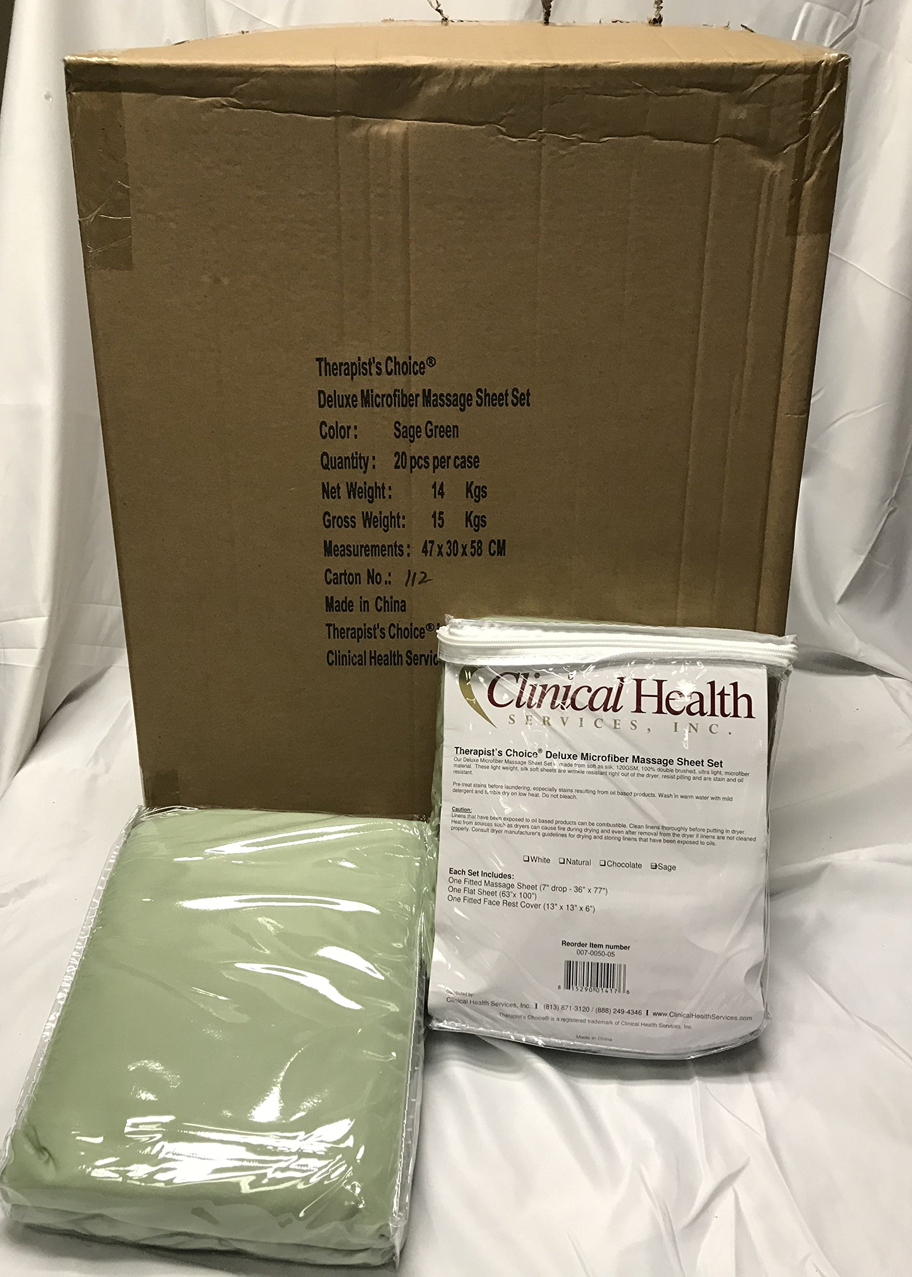 Therapist's Choice® Premium Deluxe Microfiber Massage Sheet Set, 3pc Set (Sage Green (Case of 20 Sets))