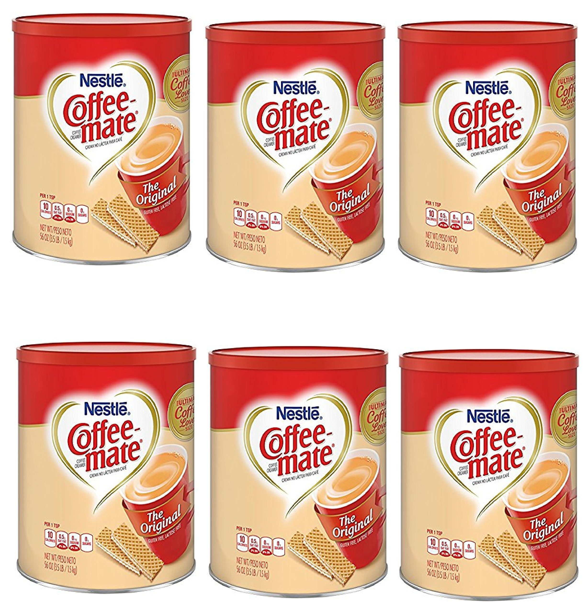 Nestle Coffee-mate Coffee Creamer 56oz. canister (6 Pack) by Nestle