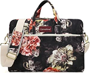 Canvaslove Big Red Chrysanthemum 15 inch Waterproof Laptop Shoulder Messenger Bag Case With Rebound Bubble Protection for 14 inch-15.6 inch laptop
