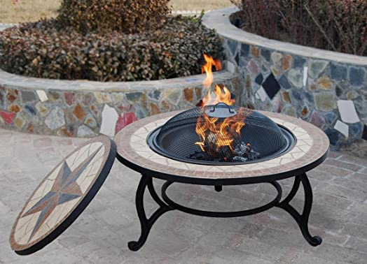 SALTILLO Beautiful Garden BBQ Fire Pit Mosaic Table   Fire Bowl, Patio  Heater With Rain