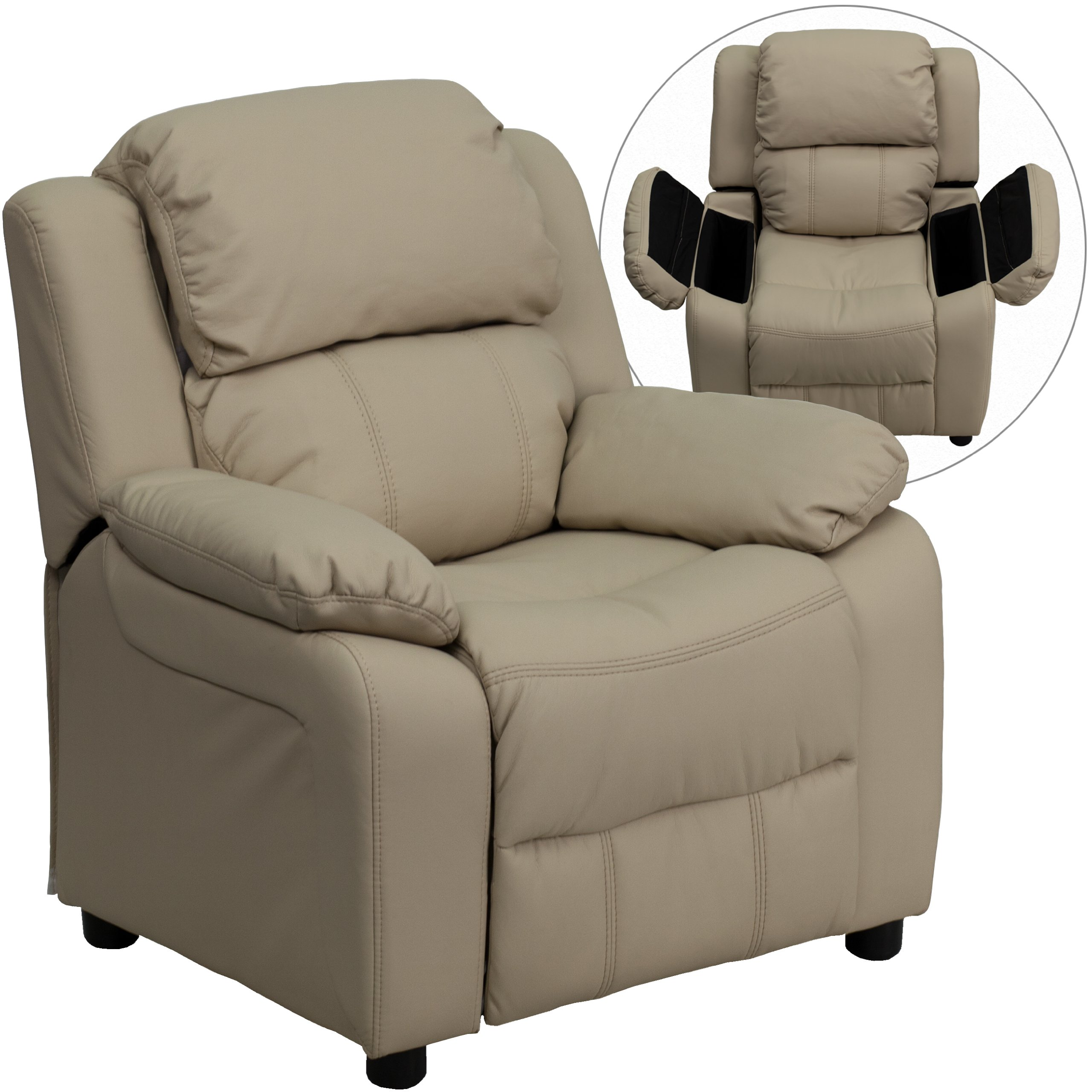 Winston Direct Kids' Series Deluxe Padded Contemporary Beige Vinyl Recliner with Storage Arms