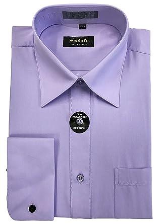 40b6c8815e9f Amanti Mens French Cuff Spread Collar Dress Shirt Cotton Blend (Neck 14.5  Sleeves 32/