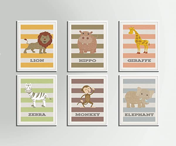 Jungle Animals Nursery Art Print Lion Hippp Giraffe Zebra Monkey Elephant Wall Kids Room Bedroom