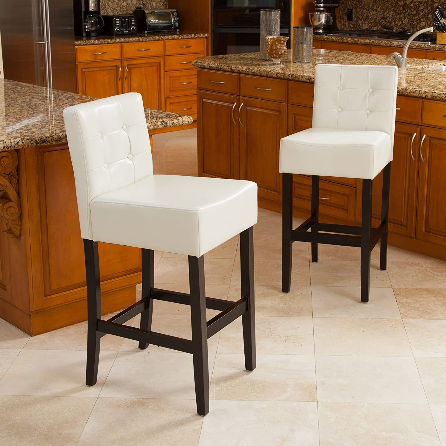 Amazon com gregory ivory tufted leather back bar stool set of 2 kitchen dining