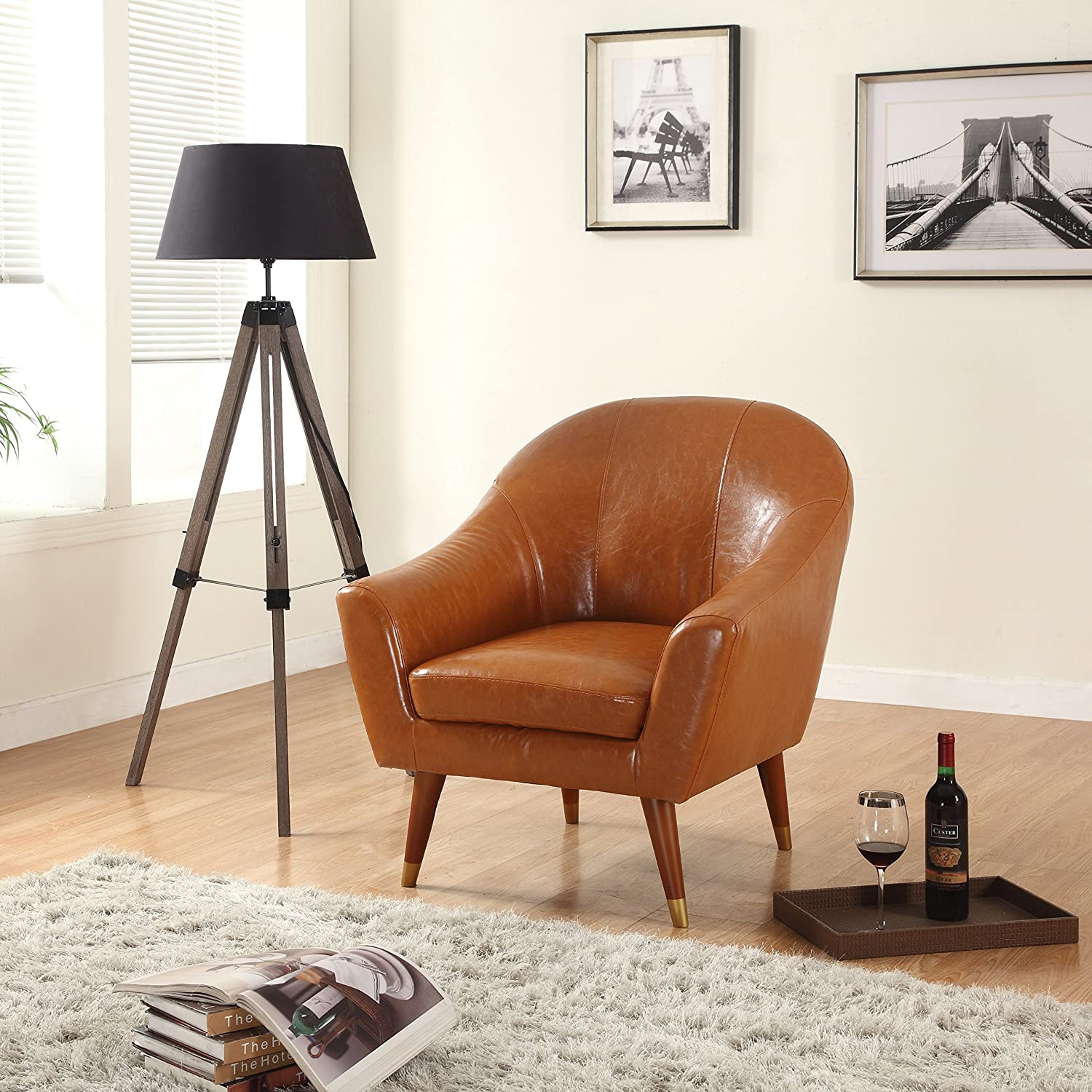 Marvelous Divano Roma Furniture Signature Collection Mid Century Bonded Leather Accent Chair Camel Pdpeps Interior Chair Design Pdpepsorg