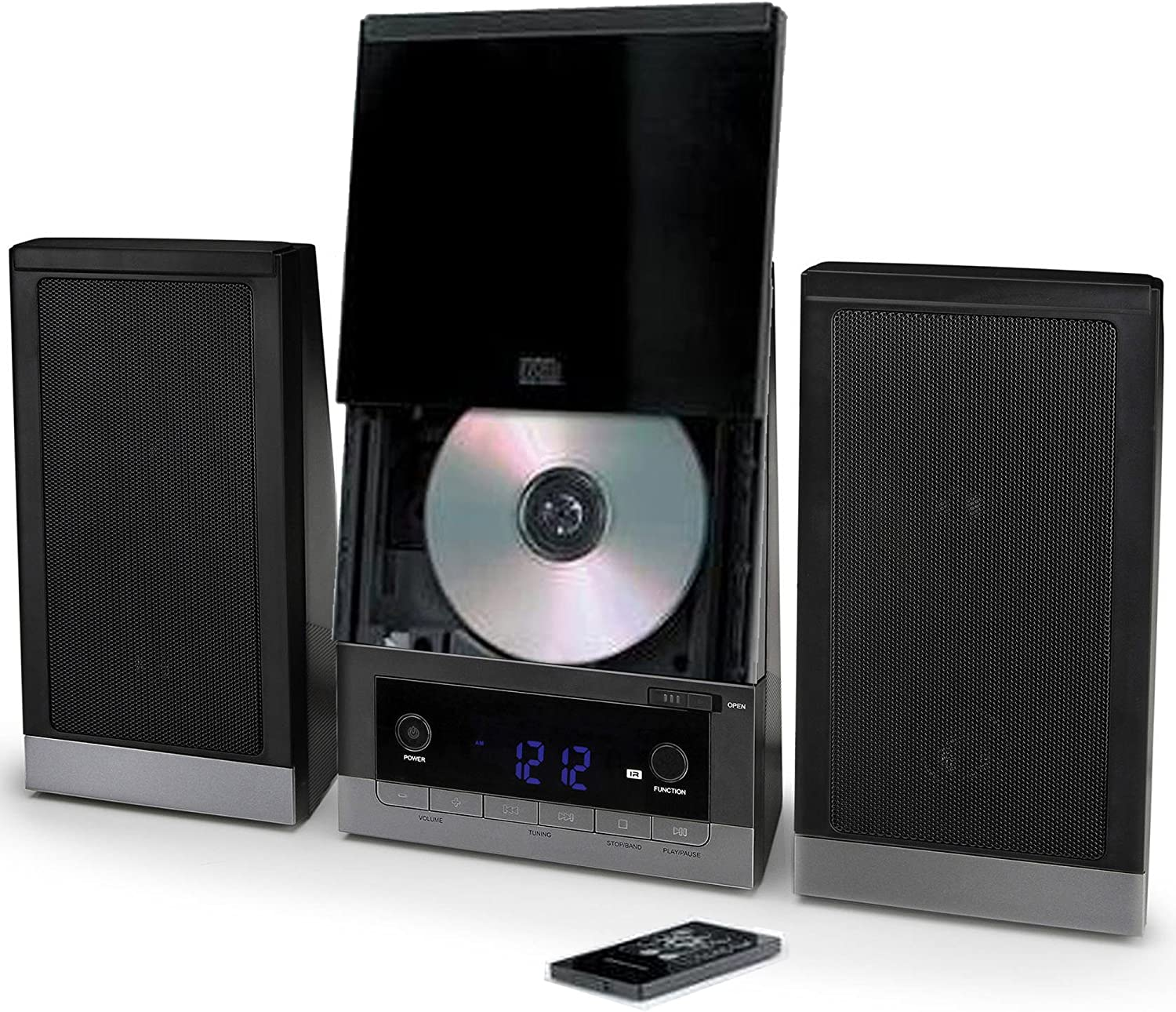 ONN Audio Compact Home CD Music Shelf System Vertical-Loading with Stereo Dynamic Speakers & Digital AM/FM Radio LCD Display & Aux Line in ONB-203 C (Renewed)