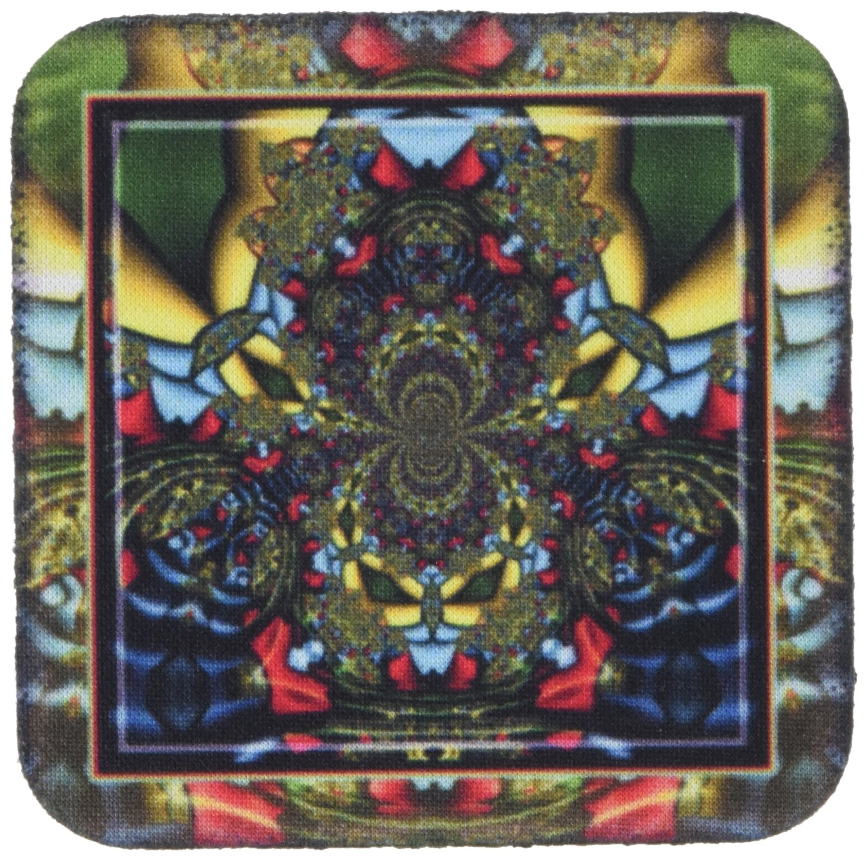 3dRose cst_24841_1 Psychedellica 2 Hippie Flowerpower Retro Fractal Psychedellic Red Yellow Blue Retro Oriental India-Soft Coasters, Set of 4