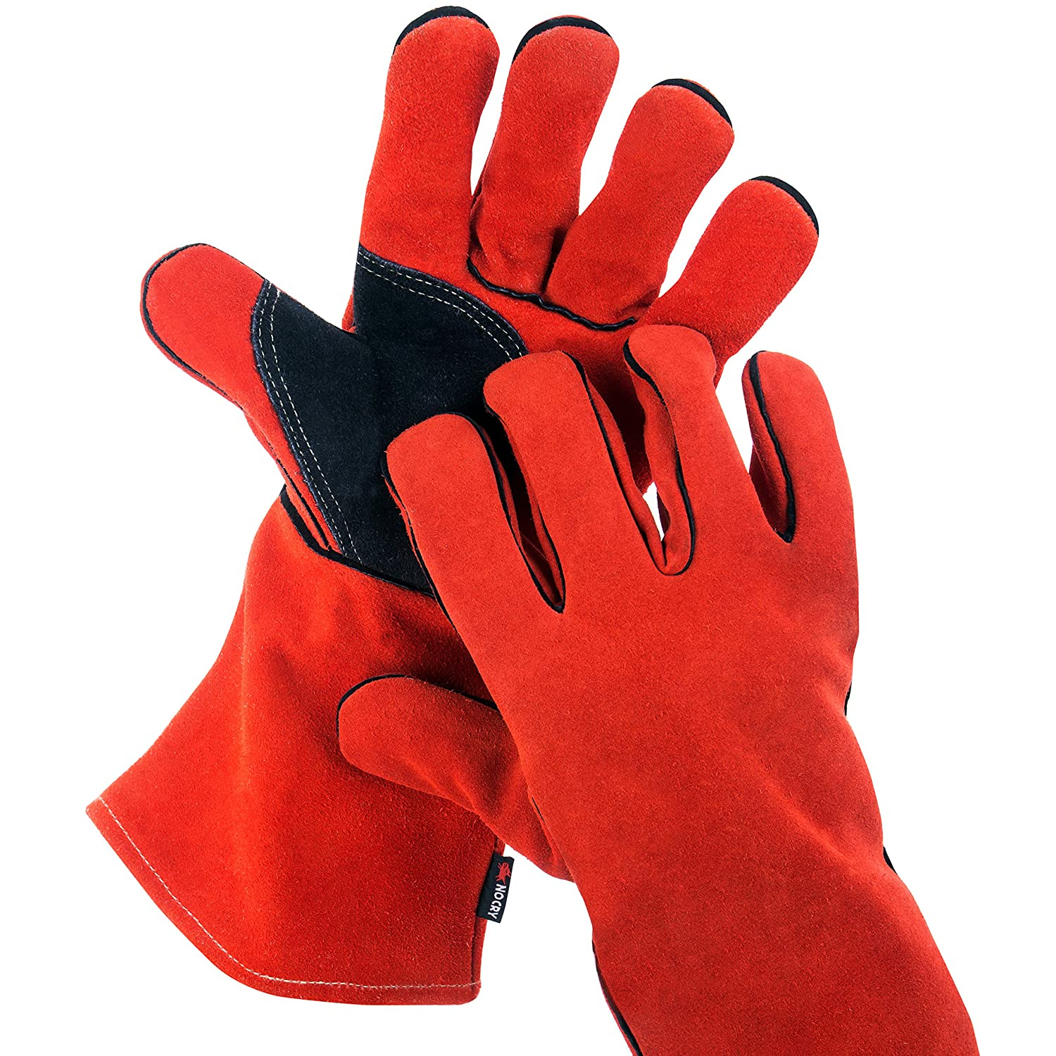 NoCry Heavy Duty Heat Resistant Flame Retardant Welding BBQ Gloves Premium Cowhide Leather Long 14 inch Forearm Protection. Red Size Large