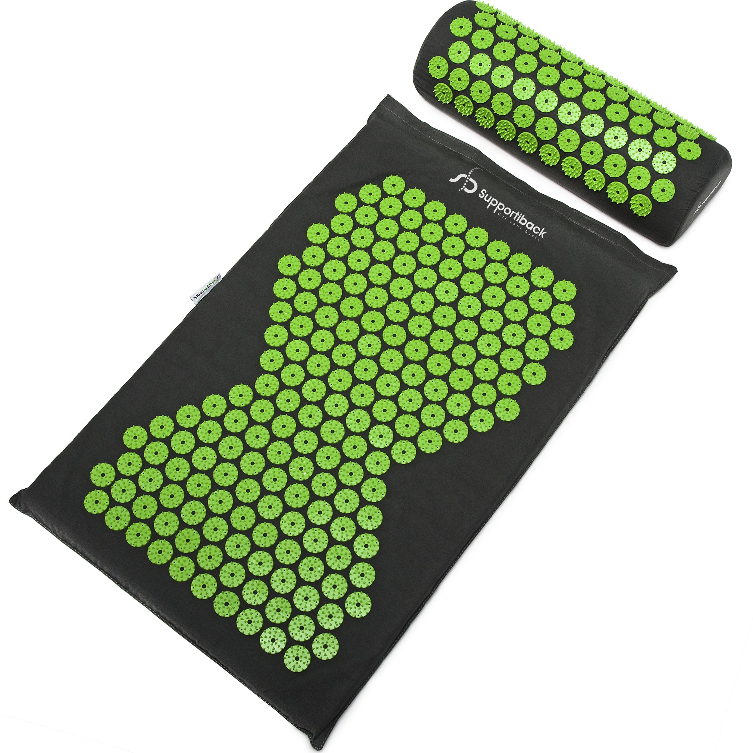 Supportiback Wellness Therapy Acupressure Mat Set - Prick Free Acupuncture Mat and Acupuncture Pillow for Relaxation and Pain Relief - Massage Mat, Acupressure Cushion, Washable Cover and Travel Bag