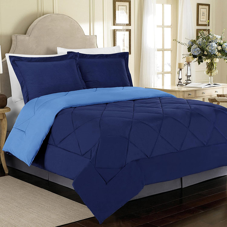 Cathay Home 90 GSM 3-Piece Microfiber Reversible Comforter Set, Full/Queen, Navy/Regatta