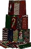 Assorted Christmas Kraft paper wine bags; 12 designs; set of 24 bags