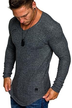 dc08ea7b3656c3 Amaci Sons Herren Oversize Basic Pullover Melange Sweatshirt V-Neck .