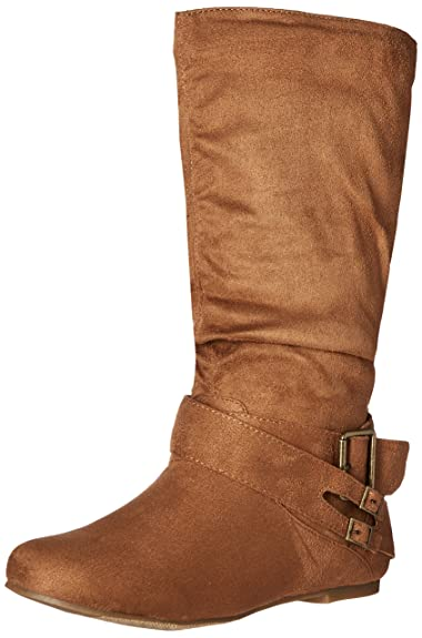6b330f386e07 Brinley Co. Womens Regular and Wide-Calf Buckle Mid-Calf Slouch Boot  Chestnut