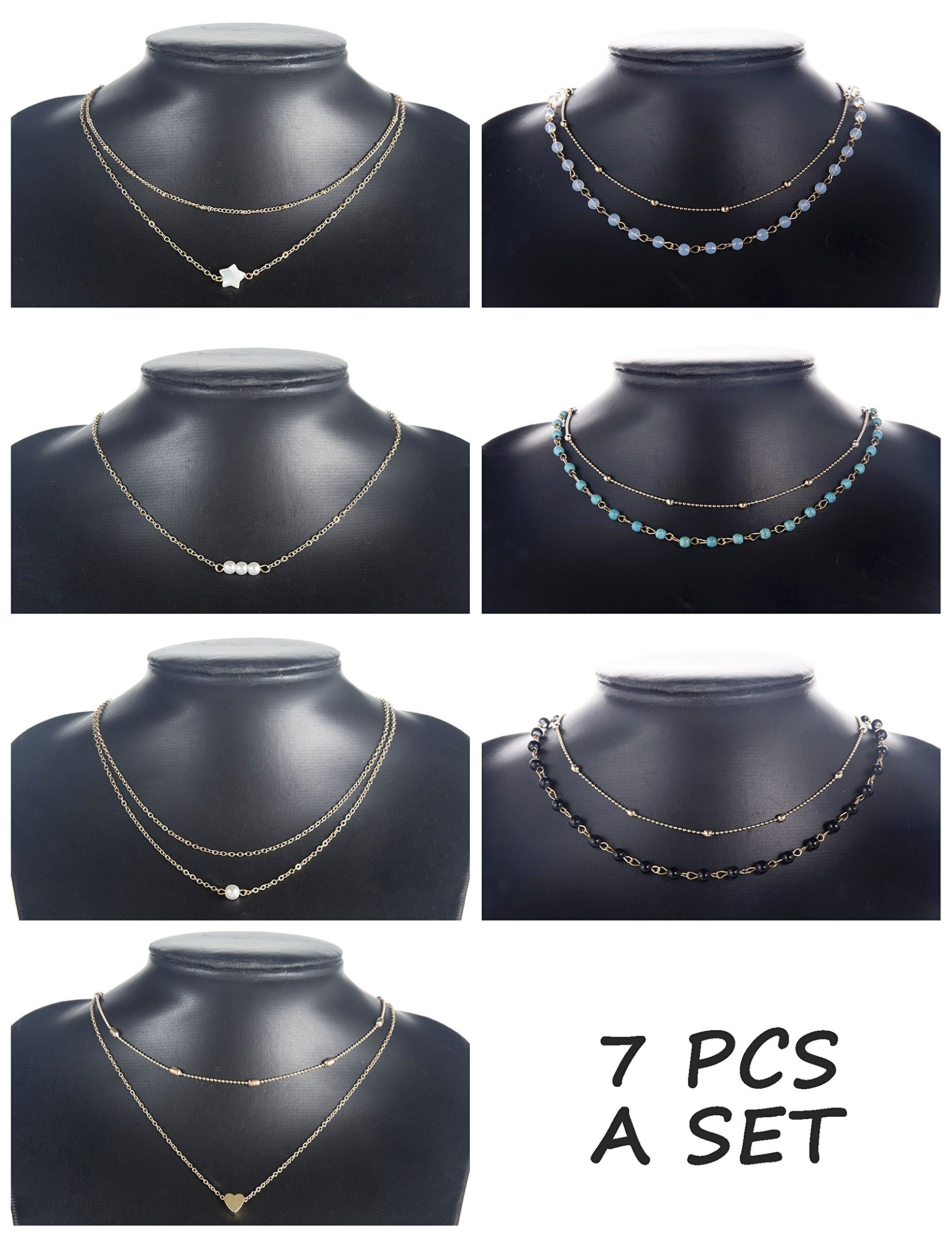 Finrezio 7 PCS Layered Choker Necklace for Women Girls Gold-Plated Star Heart Pearl Chain Necklaces Dainty Jewelry Set
