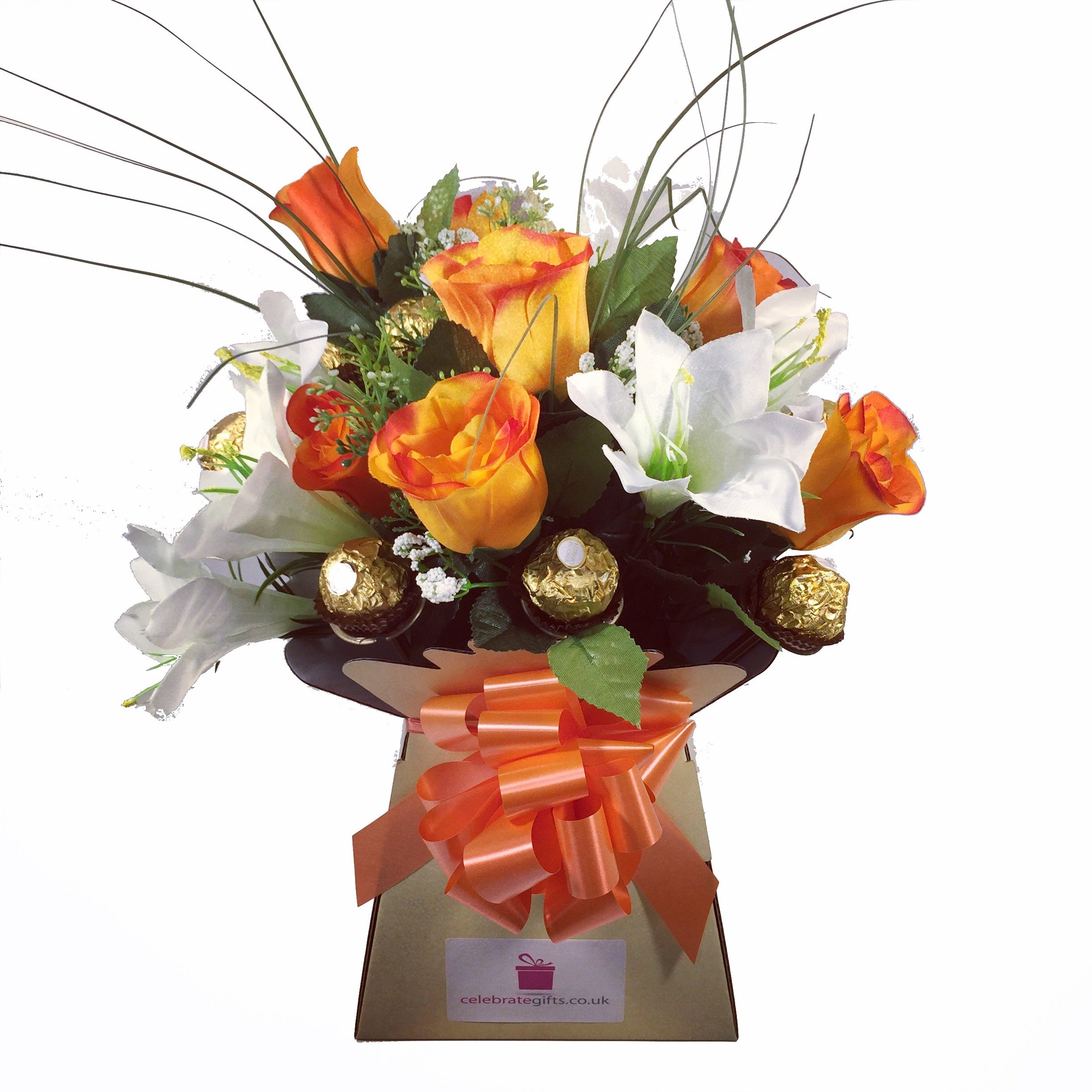 Chocolate flower bouquet amazon luxury silk orange roses lilies and ferrero rocher chocolate bouquet izmirmasajfo