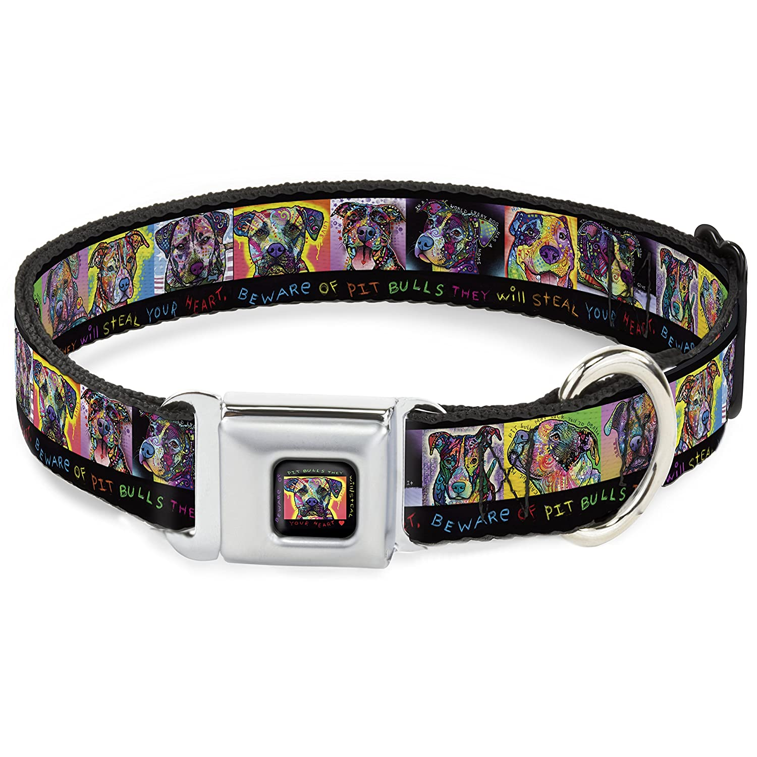 WIDE-MEDIUM Fits 16-23 Inch (1.5 Inch WIDE) Buckle-Down Dc-Wal002-Wm They Will Steal Your Heart Dog Collar, Wide-Medium, Black Multi color