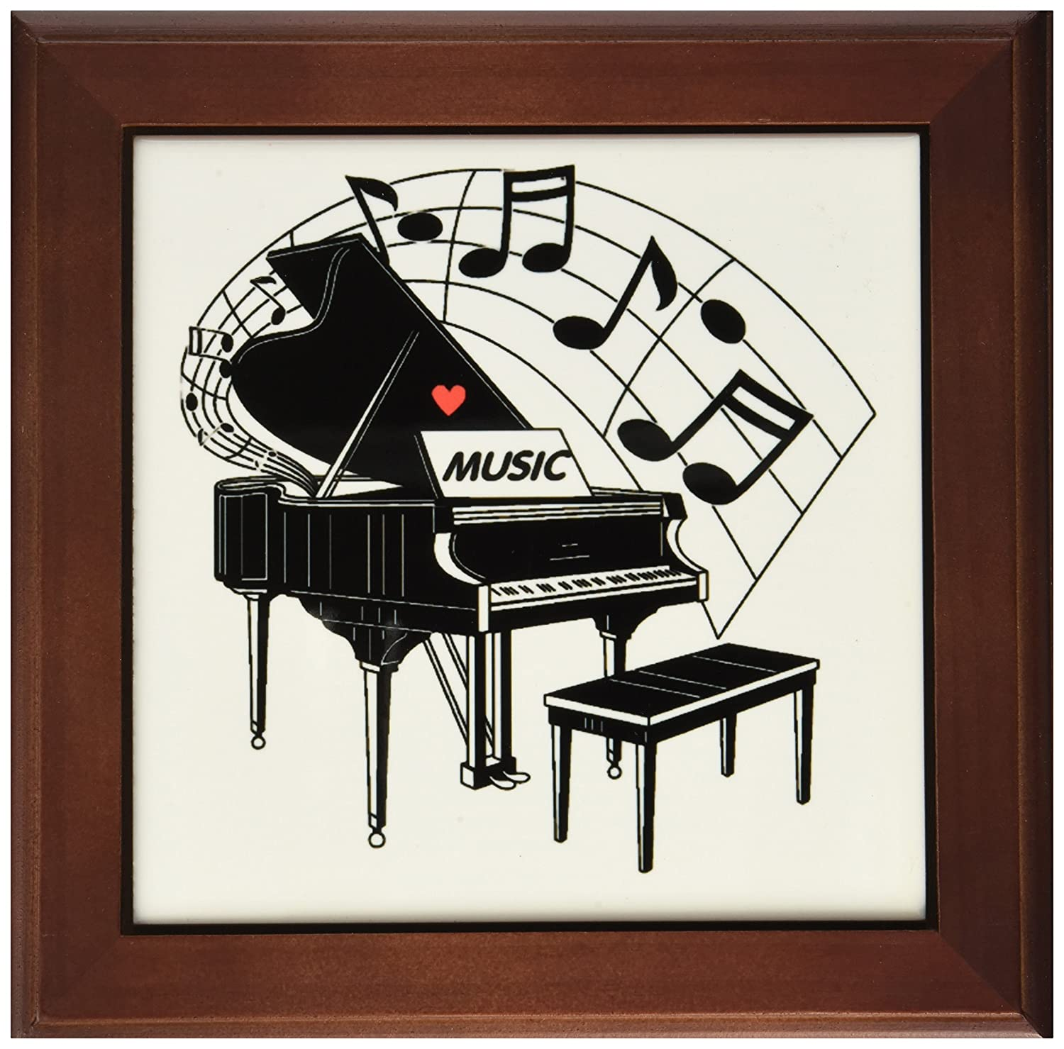 8 by 8-Inch 3dRose ft/_44809/_1 Black Piano with Dancing Notes N Love Music on it Framed Tile