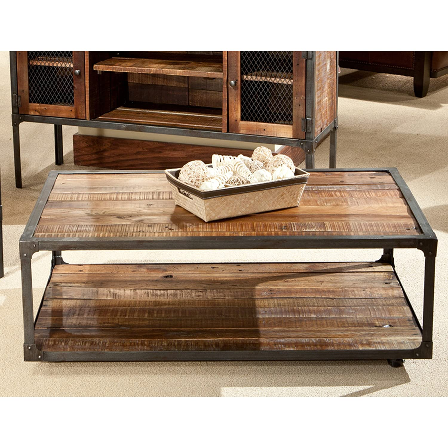 emerald home medium brown coffee table with open shelving metal frame and casters