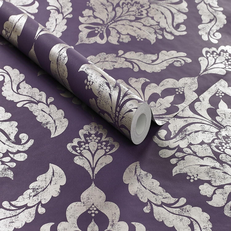 Boutique Damson Damaris Damask Luxury Metallic Wallpaper