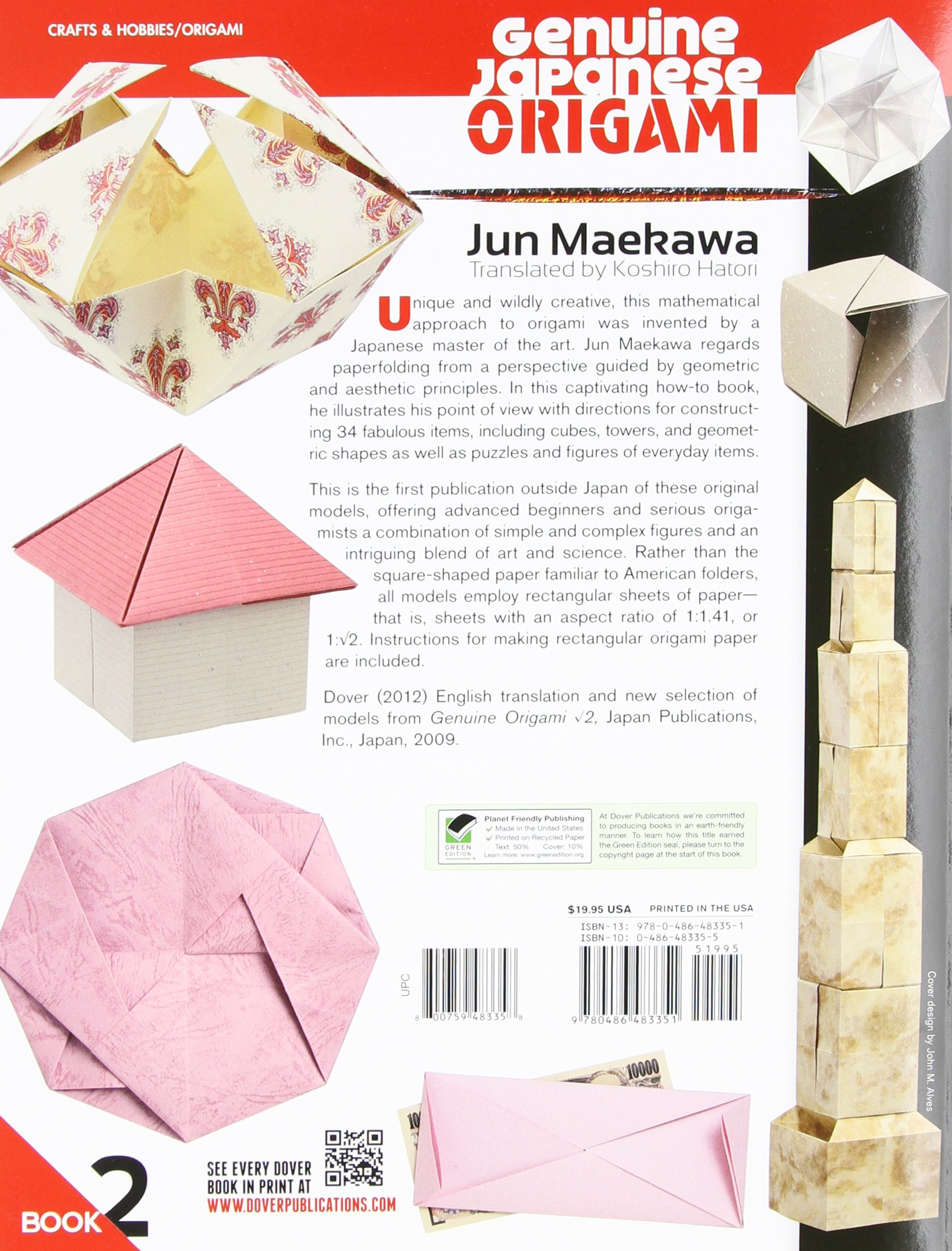 Genuine Japanese Origami Book 2 34 Mathematical Models Based Upon Central Lookup Model Diagrams Stepbystep The Square Root Of Dover Papercraft Jun Maekawa Koshiro Hatori