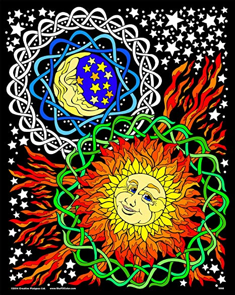 Amazon.com: Sun And Moon - Fuzzy Velvet Coloring Poster For Kids And Adults  (Fun Coloring Activity For All Ages, Arrives Uncolored): Posters & Prints