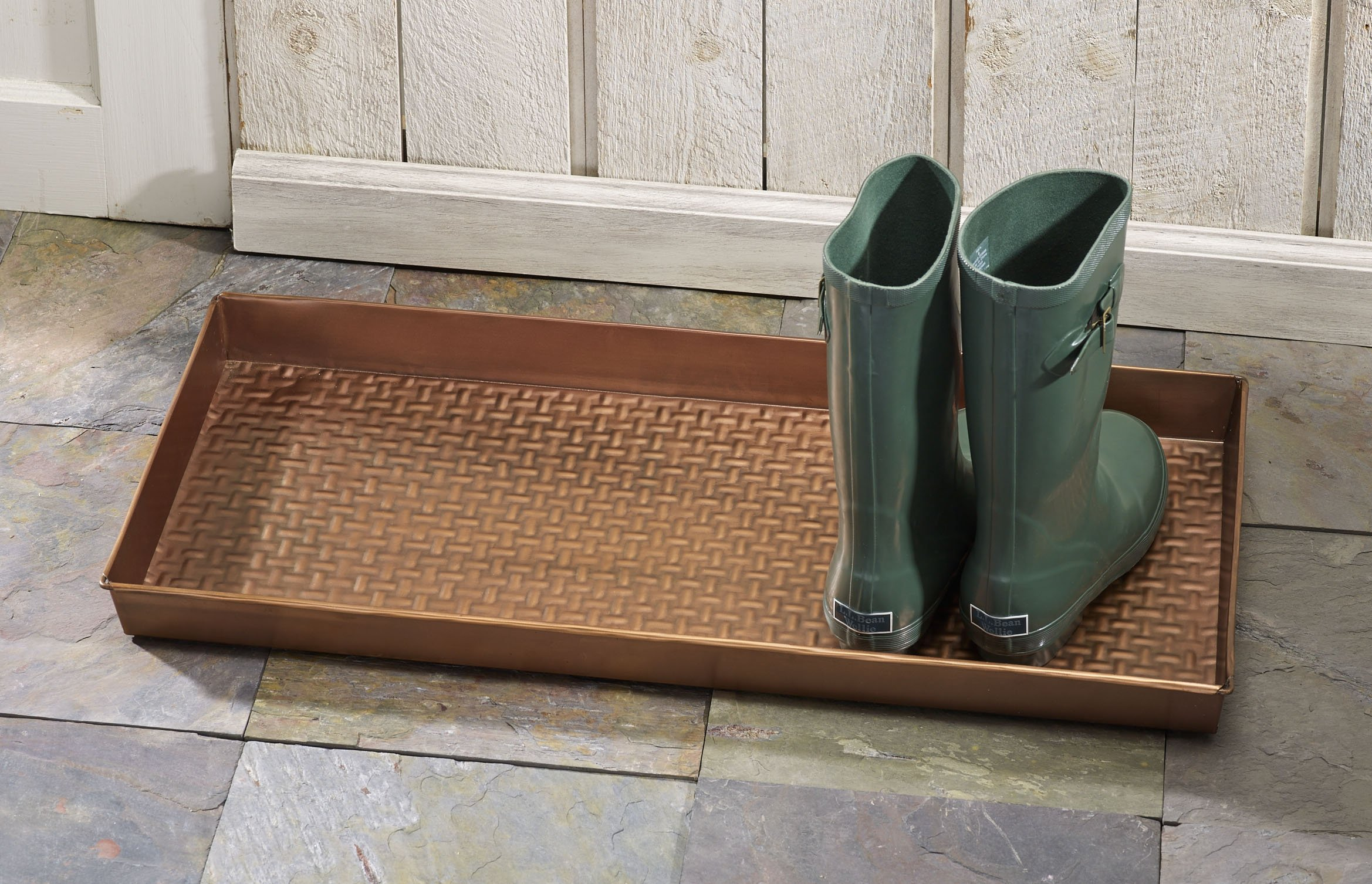 HF by LT Basketweave Pattern Metal Boot Tray, 30'' by 13'', Antique Copper Finish by HOME FURNISHINGS BY LARRY TRAVERSO (Image #3)