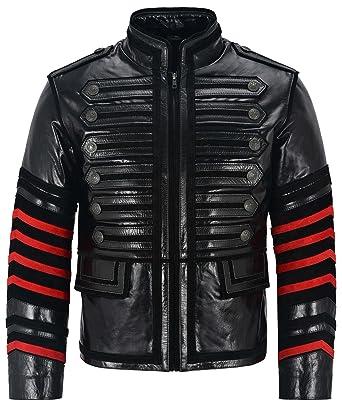 e0eaadf2c000e Manteau 4234 pour Hommes Noir avec Rouge Stripes véritable Cuir de Vachette  Veste Parade Rock Hommes