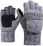 Woogwin Mens Winter Fingerless Gloves Fleece Thermal Wool Knit Convertible Mittens(gray)