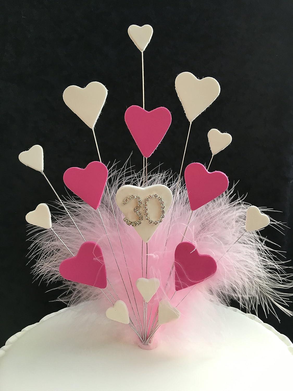 30th Birthday/Wedding Anniversary Cake Topper Pink & White Hearts ...