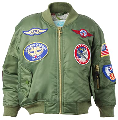 fa5371a1ff9 Amazon.com  Kids MA-1 Jacket with Patches  Clothing