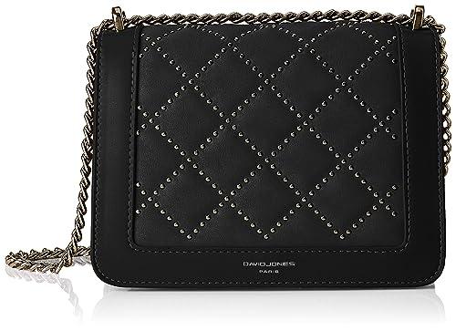 4bbe4dcceaea David Jones 5964-1, Women's Cross-Body Bag, Black, 8x14x20 cm (W x ...