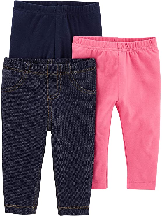 Simple Joys by Carter's Girls' 3-Pack Leggings, Navy/Pink/Denim, 6-9 Months best baby jeans