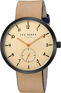 b9a5e20780e96f Ted Baker Men s Josh Stainless Steel Quartz Watch with Leather Calfskin  Strap