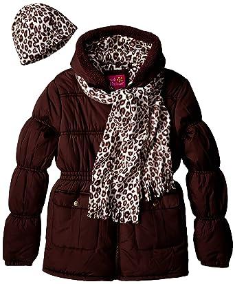09cc1a8c3 Amazon.com  Pink Platinum Little Girls puffer Coat with Faux Fur ...
