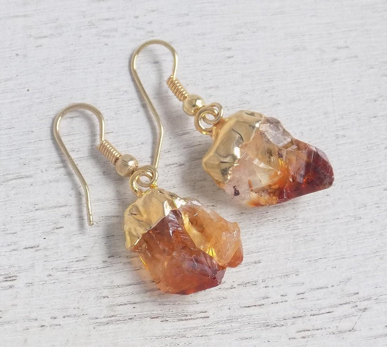 Gold plated earrings  Handmade earrings  Natural stone earrings  Brass earrings  Gifts for women