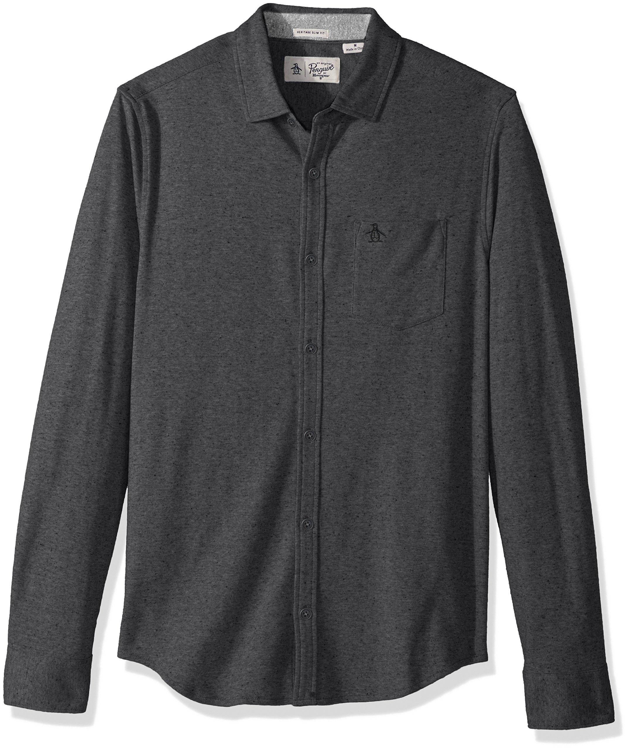Original Penguin Men's NEP Speck Shirt, Dark Charcoal Heather, Extra Large