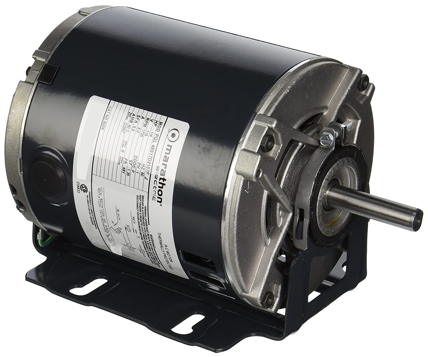 Marathon B206 Belt Drive Blower Motor, Single/Split Phase, C-Dimension - 9.62, 1/4 hp, 1725 RPM, 115V, 5 amp