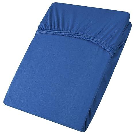 aqua-textil Viana sábana Bajera Ajustable, algodón, Azul Real, 90x200 bis 100x200
