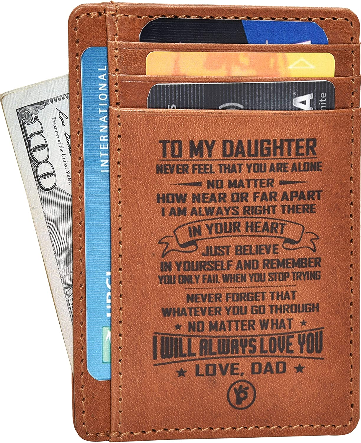 Mens Personalised Engraved Real Brown Soft Leather Wallet Christmas Gift Present