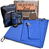 """Microfiber Pack Towel Set of 3   Very Compact, Quick Drying, Super Absorbent & Lightweight   Set Includes 61""""x31'' Camping Towel + 32""""X16"""" Sport Towel + 16""""X16"""" Hand Towel + 3 Carry Bags - 4 active n"""