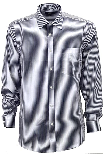 Grino Firenze Camicia Classica Uomo Righe Blu Scuro Sfondo Bianco