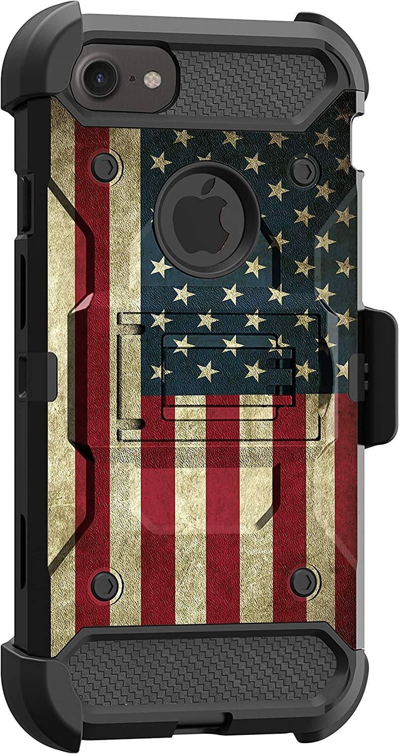 MINITURTLE Compatible with Apple iPhone SE 2, iPhone SE (2020) Triple Layer Combo 360 Degree Rotating Belt Clip Case [Max Guard] - Vintage American Flag