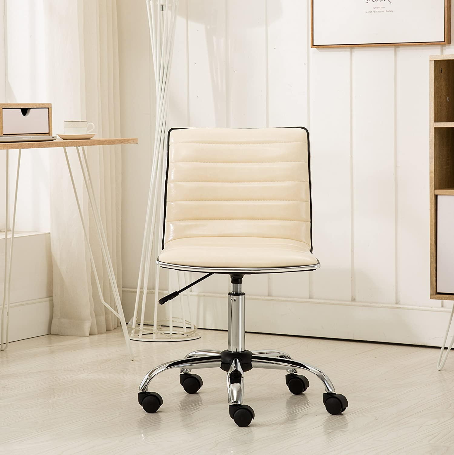 Roundhill Furniture Fremo Chromel Adjustable Air Lift Office Chair in Beige