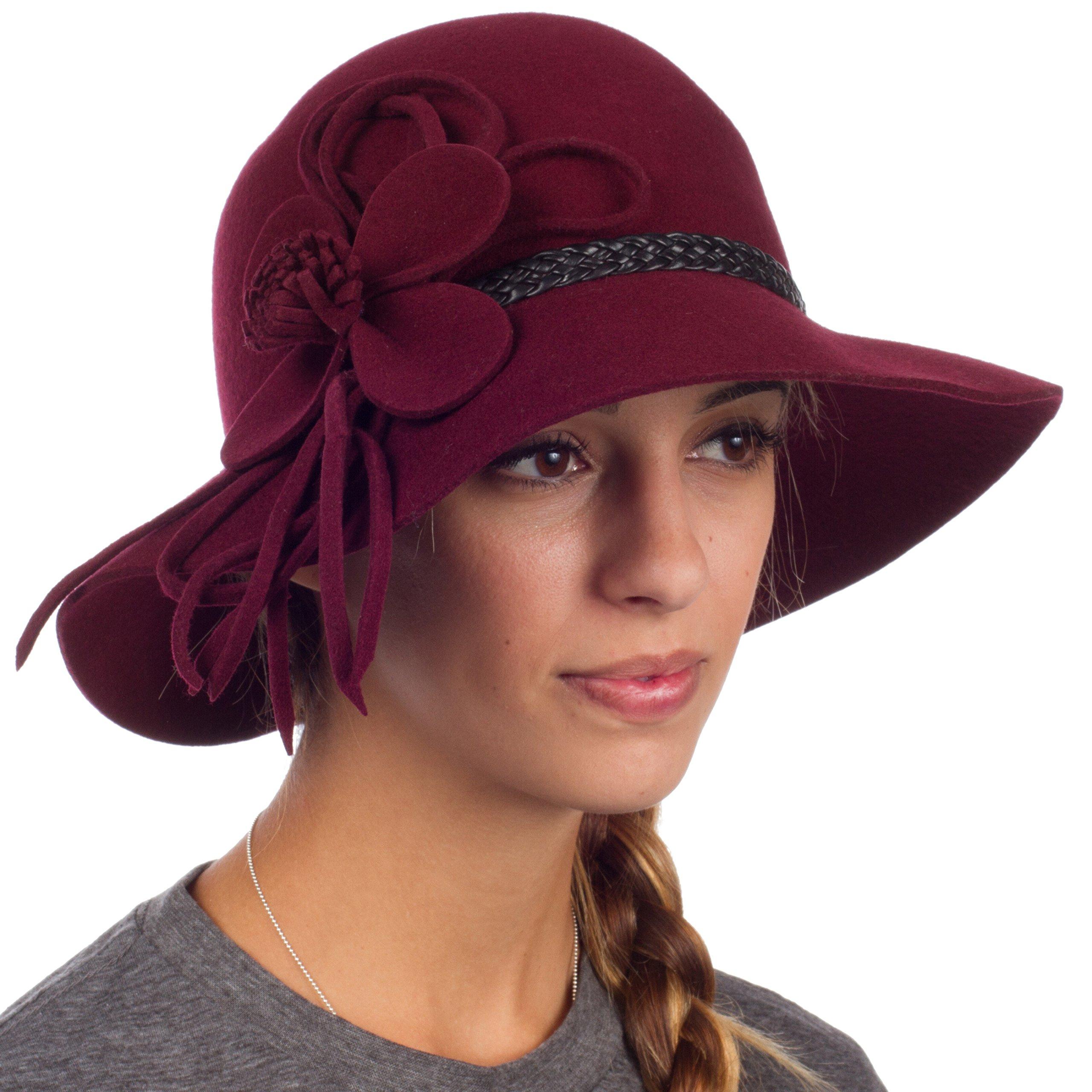 Sakkas 30M Gloria Vintage Style Wool Cloche Hat - Burgundy - One Size by Sakkas