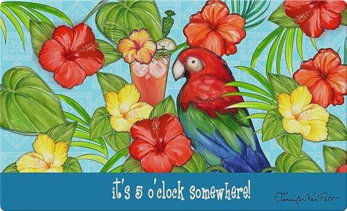 Toland Home Garden It s Five 18 x 30 Inch Decorative Happy Hour Bird Floor Mat Tropical Party Doormat
