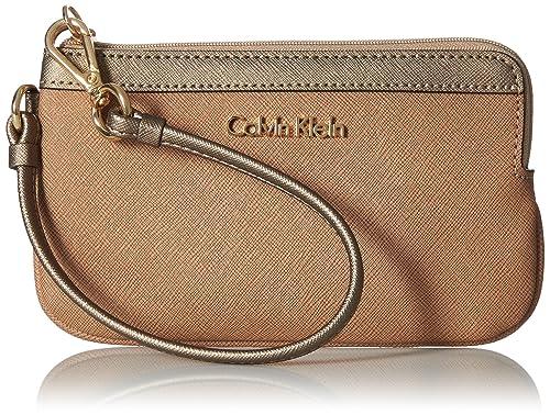 Calvin Klein - Cartera de mano con asa para mujer beige Cashmere Metallic Truffle Block: Amazon.es: Zapatos y complementos